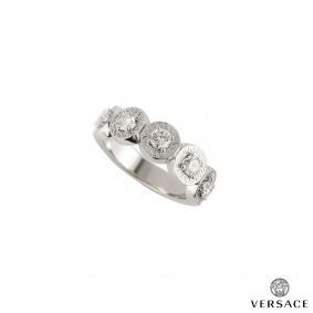 Versace 18k White Gold Diamond Set Dress Ring